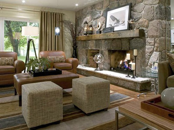 Wall Colour Inspiration: Stone-Fireplace-Decorating-Ideas